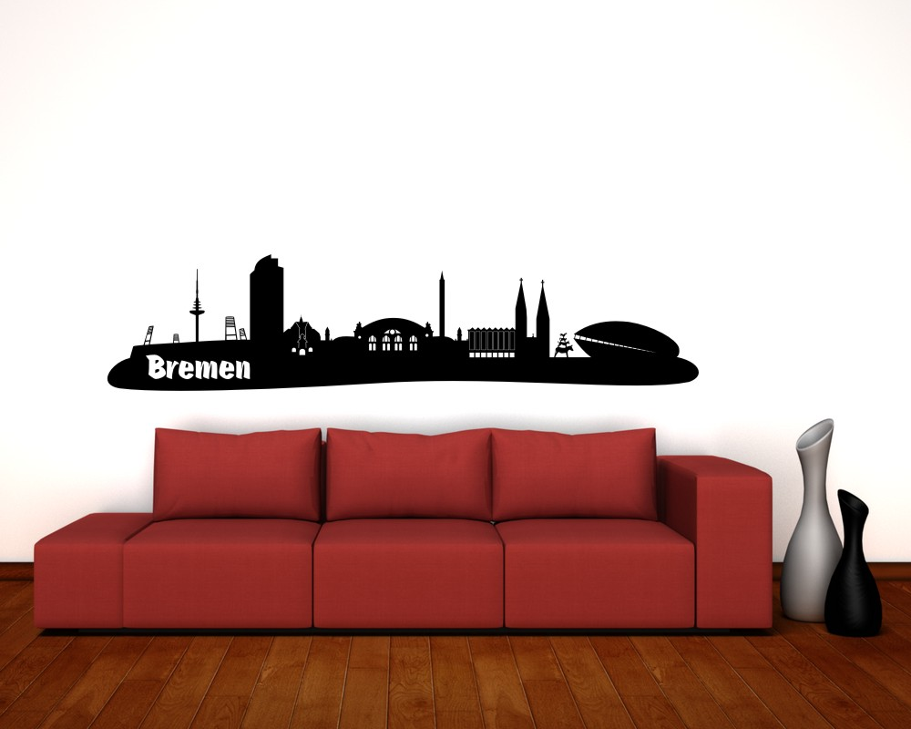 bremen wandtattoo skyline mit sehensw rdigkeiten ebay. Black Bedroom Furniture Sets. Home Design Ideas
