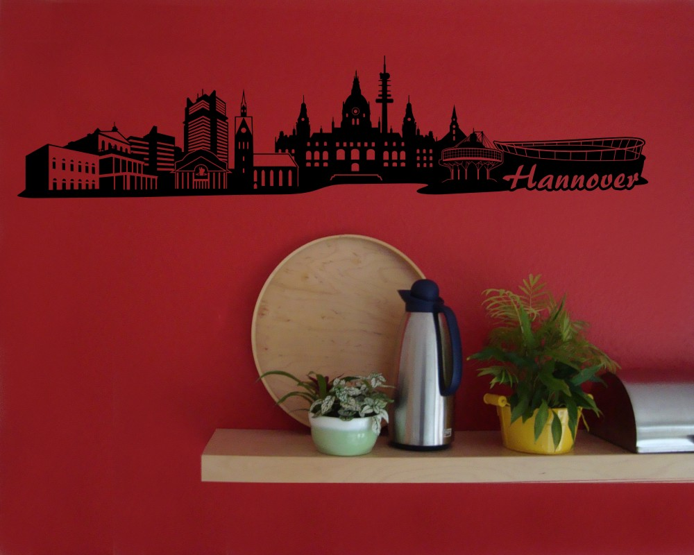 hannover wandtattoo skyline viele farben ebay. Black Bedroom Furniture Sets. Home Design Ideas