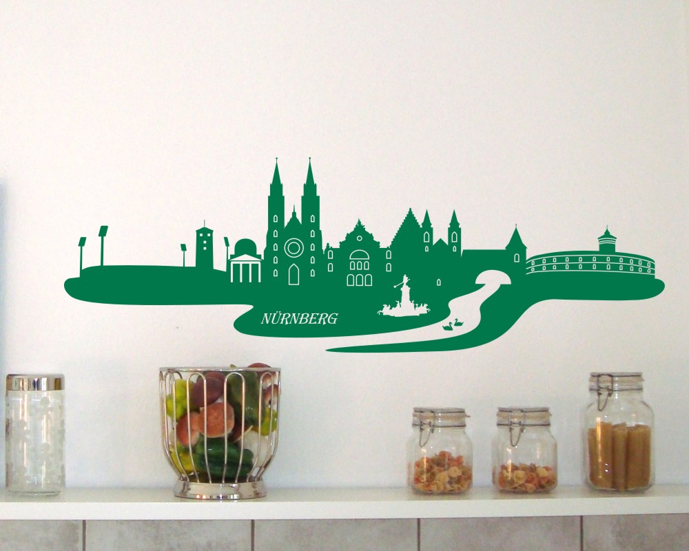 n rnberg wandtattoo skyline wandtattoo ebay. Black Bedroom Furniture Sets. Home Design Ideas