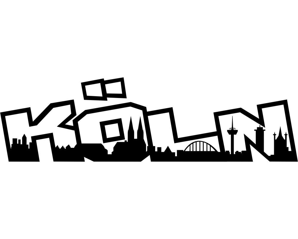 Sympathisch Wandtattoo Köln Sammlung Von Köln Skyline Schriftzug