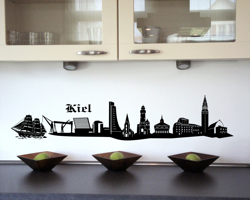 kiel wandtattoo skyline viele farben ebay. Black Bedroom Furniture Sets. Home Design Ideas