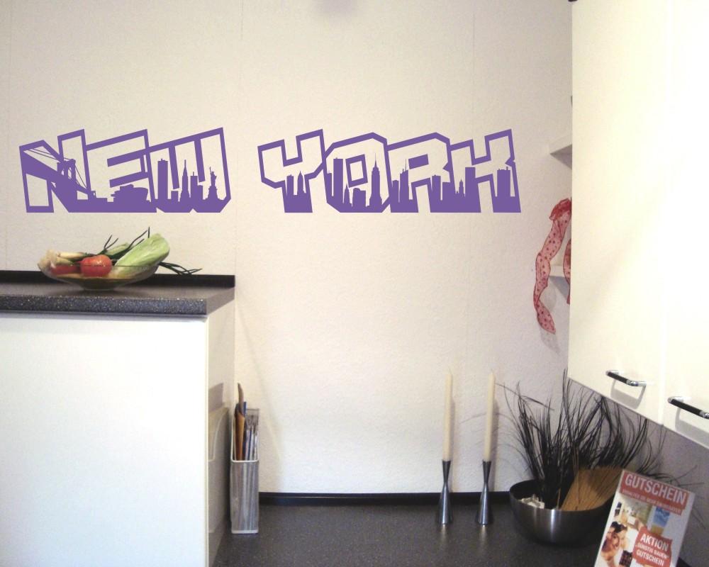 new york wandtattoo schriftzug wandaufkleber ebay. Black Bedroom Furniture Sets. Home Design Ideas
