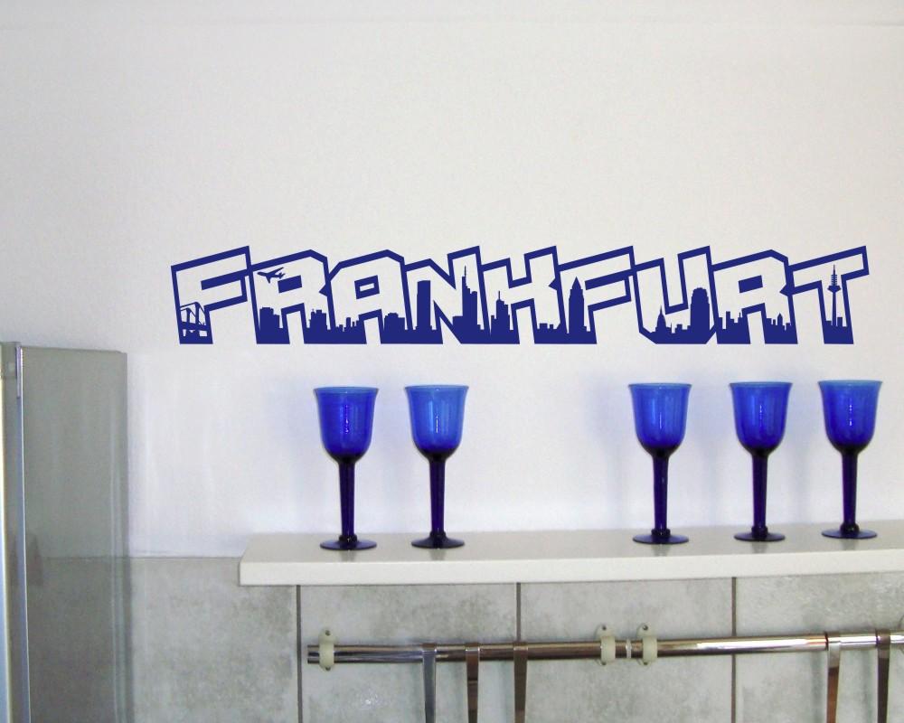 frankfurt wandtattoo schriftzug wandaufkleber ebay. Black Bedroom Furniture Sets. Home Design Ideas