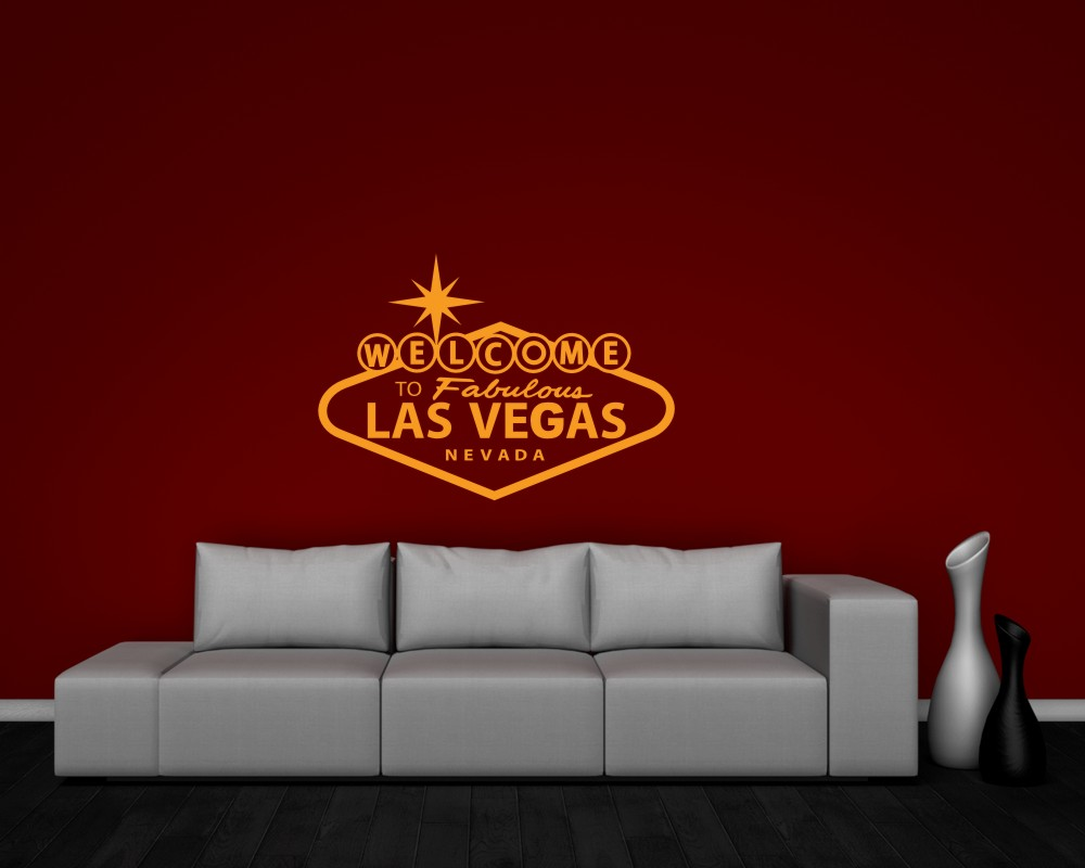 welcome to las vegas wandtattoo sehensw rdigkeit ebay. Black Bedroom Furniture Sets. Home Design Ideas
