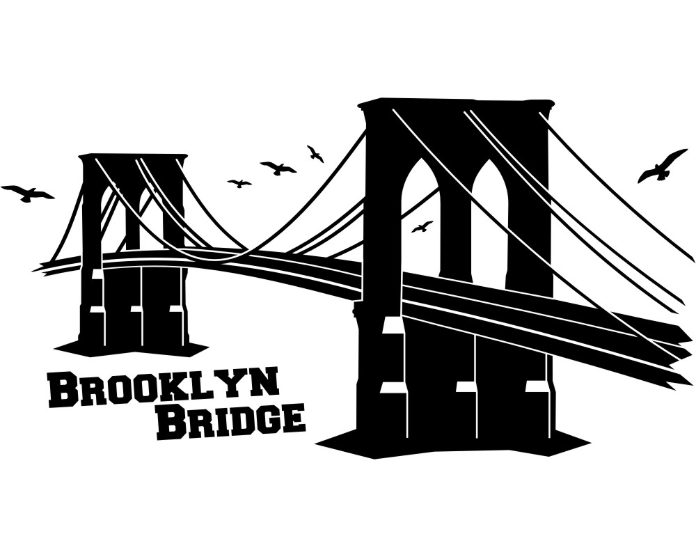brooklyn bridge wandtattoo wahrzeichen wandaufkleber. Black Bedroom Furniture Sets. Home Design Ideas