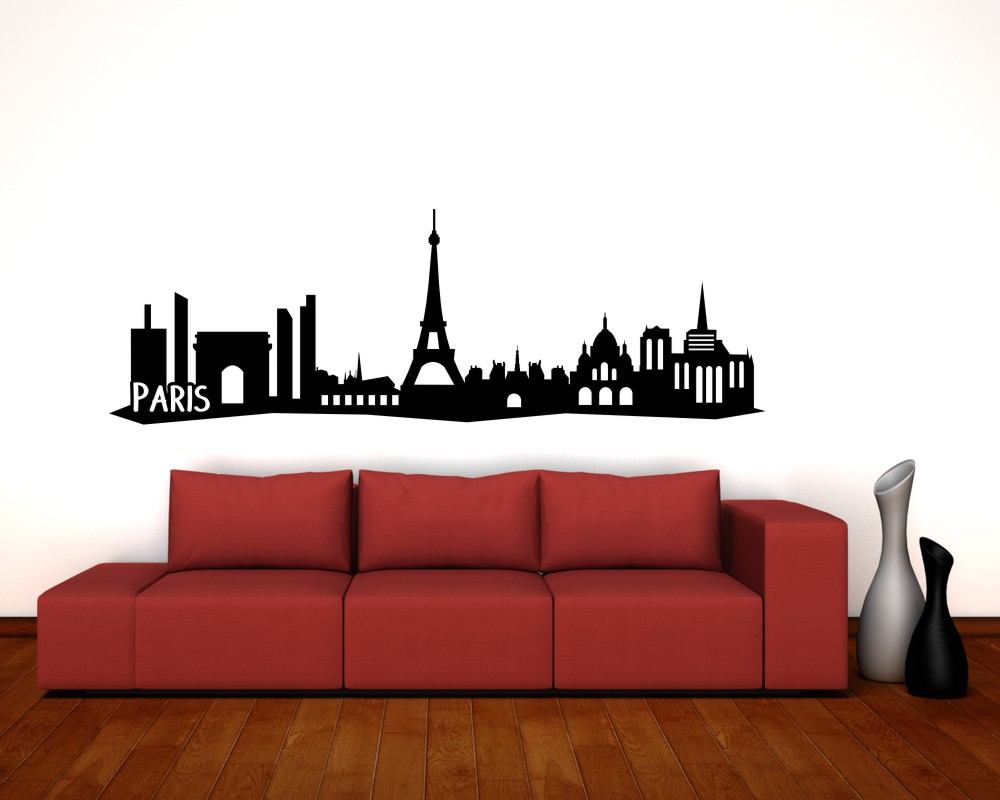 paris wandtattoo skyline mit sehensw rdigkeiten ebay. Black Bedroom Furniture Sets. Home Design Ideas