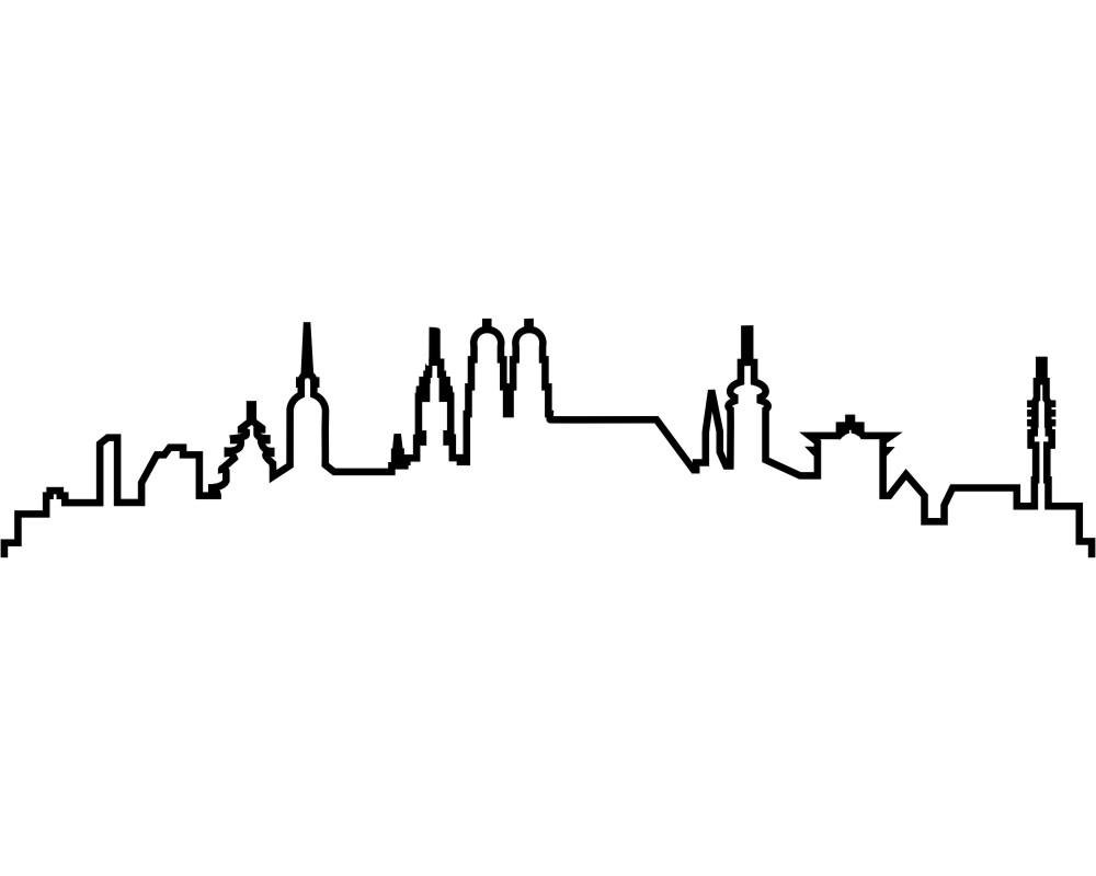 Kontur m nchen skyline silhouette aufkleber skyline4u - Wandtattoo erfurt ...