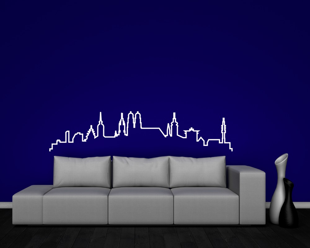 m nchen skyline silhouette wandtattoo kontur ebay. Black Bedroom Furniture Sets. Home Design Ideas